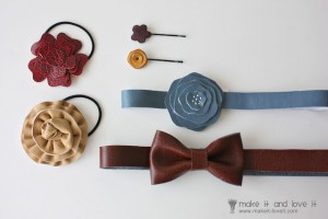 headband et barrette en simili cuir
